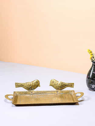Handcrafted Brass Tray with Bird Design (12in x 5.5in)