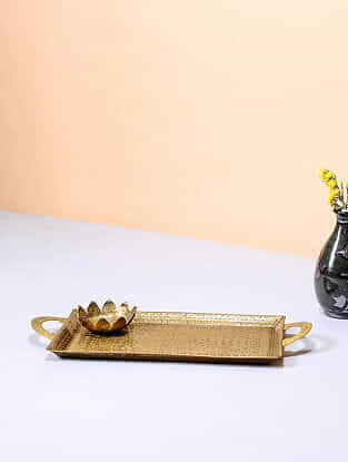 Handcrafted Brass Tray with Lotus Design (12in x 5.6in)