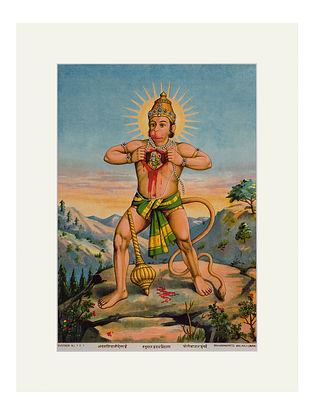 Raja Ravi Varma's Hanuman Hriday Vidaran Lithoprint on Paper (14in x 10in)
