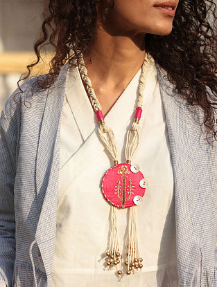 Pink-White Gaji Silk Necklace