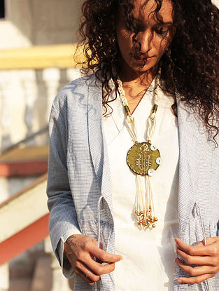 Mehendi Green-White Gaji Silk Necklace