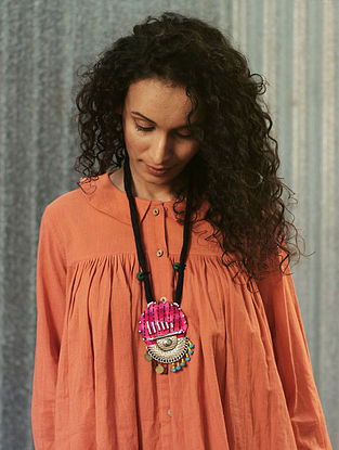 Pink-Black Cotton Necklace