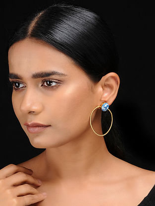 Blue-White Gold Tone Handpainted Kalamkari Brass Earrings