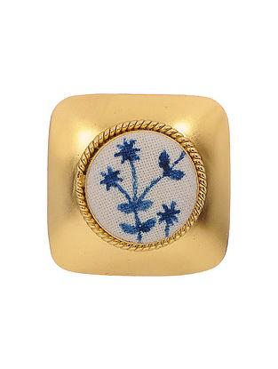Blue-White Gold Tone Handpainted Kalamkari Brass Button