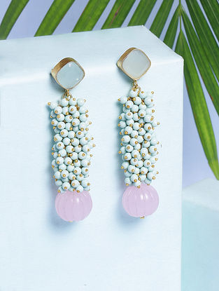 Pink-Mint Glass Stone And Calcite Handcrafted Earrings