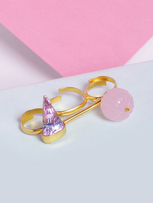 Pink Glass Stone Handcrafted Ring