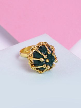 Green Glass Stone Handcrafted Ring