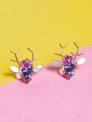 Pink-Blue Glass Stone Handcrafted Stud Earrings