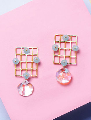 Mint Blue Glass Stone Handcrafted Earrings