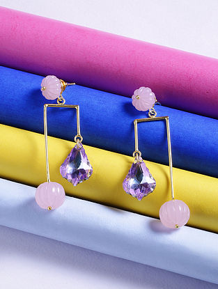 Pink-Blue Glass Stone Handcrafted Earrings