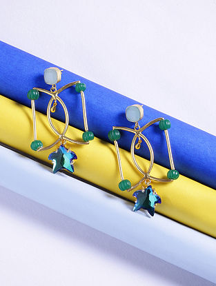 Blue-Green Glass Stone Handcrafted Earrings