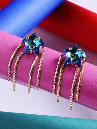 Blue Glass Stone Handcrafted Tassel Earrings