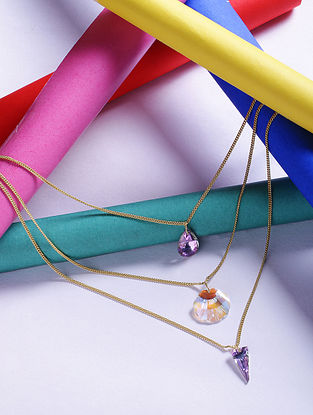 P ink Glass Stone Handcrafted Layered Necklace