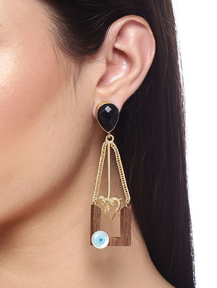 Black Brown Gold Tone Handcrafted Earrings