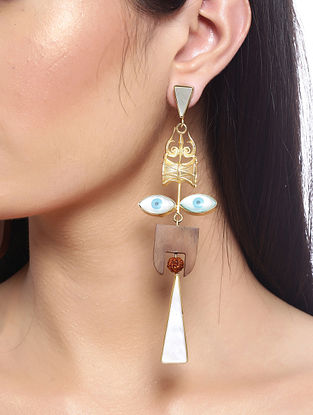 Brown White Gold Tone Handcrafted Earrings