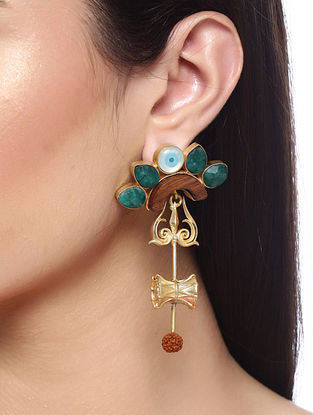 Green Red Gold Tone Handcrafted Earrings