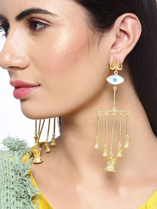 White Blue Gold Tone Handcrafted Earrings
