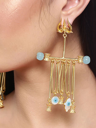 Blue White Gold Tone Handcrafted Earrings