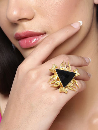 Black Gold Tone Handcrafted Ring