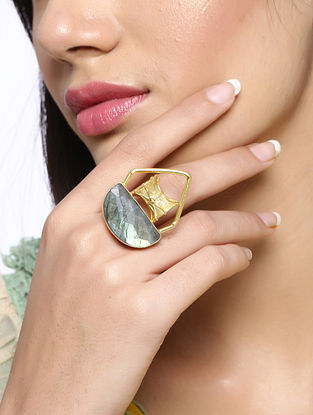 Gold Tone Handcrafted Ring with Labradorite