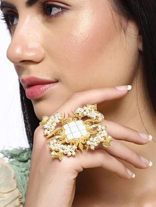 Gold Tone Handcrafted Ring with Pearls