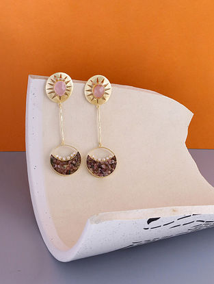 Pink Gold Tone Handcrafted Earrings with Pearls