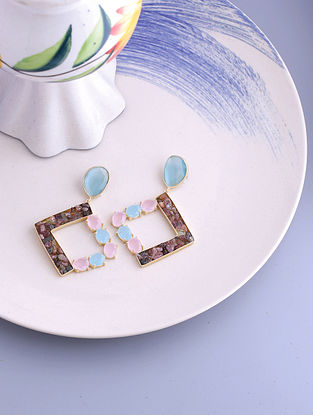 Blue Pink Gold Tone Handcrafted Earrings