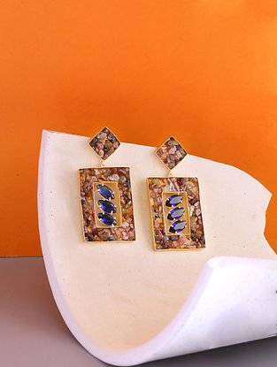 Blue Gold Tone Handcrafted Earrings