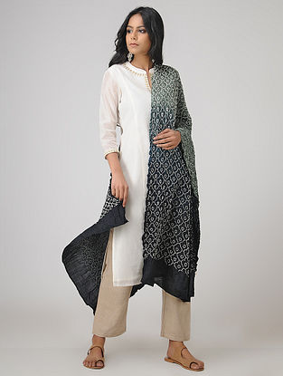 Black-Grey Bandhani Gajji Satin-Silk Dupatta