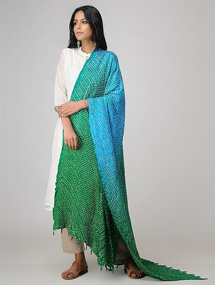 Green-Blue Bandhani Gajji Satin-Silk Dupatta with Beads