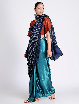 Blue-Ivory Bandhani Gajji Satin Saree