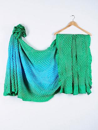 Turquoise-Green Bandhani Gajji Satin Saree