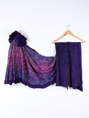 Blue-Purple Bandhani Gajji Satin Saree