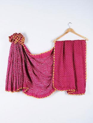 Pink-Ivory Bandhani Gajji Satin Saree