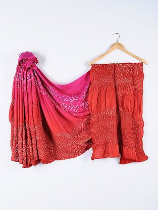 Pink-Red Bandhani Gajji Satin Saree