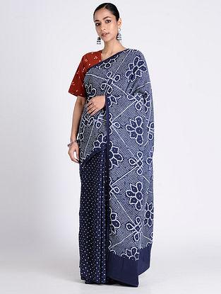 Blue-Ivory Bandhani Crepe Silk Saree
