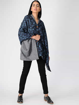 Indigo-Grey Ajrakh-printed Cotton and Wool Cape