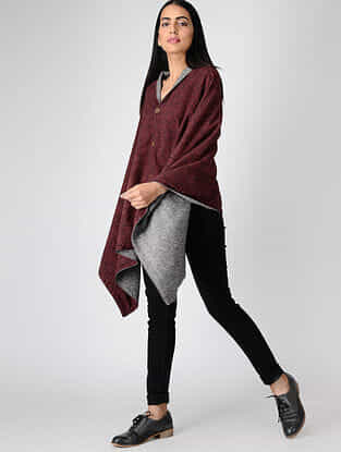 Madder-Grey Ajrakh-printed Cotton and Wool Cape