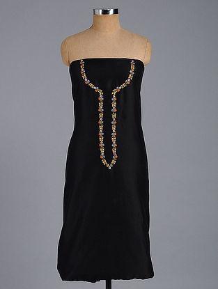 Black Hand-embroidered Chanderi Kurta Fabric