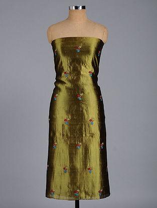 Olive Hand-embroidered Chanderi Kurta Fabric
