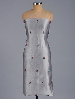 Grey-Red Hand-embroidered Chanderi Kurta Fabric