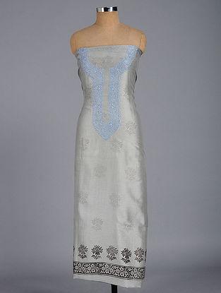 Grey-Blue Chikankari and Block-printed Chanderi Kurta Fabric