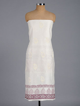 Ivory-Red Block-printed and Chikankari Chanderi Kurta Fabric