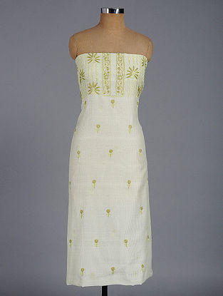 Ivory-Green Chikankari Chanderi Kurta Fabric