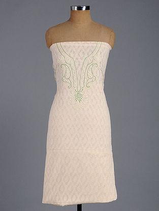 Ivory-Green Chikankari and Block-printed Chanderi Kurta Fabric