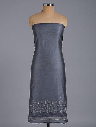Grey-Ivory Block-printed and Chikankari Chanderi Kurta Fabric with Mukaish-work