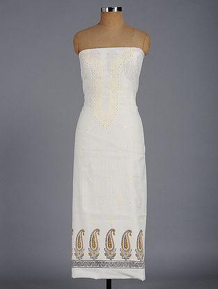 Ivory Chikankari and Block-printed Cotton Kurta Fabric with Mukaish-work