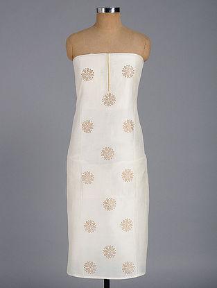 Ivory-Beige Block-printed Chanderi Kurta Fabric