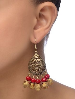 Red Gold Tone Earrings