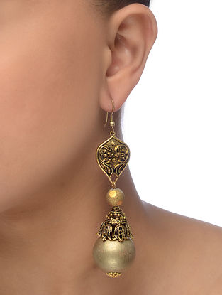 Gold Tone Wood Earrings